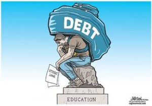 depressed student in debt