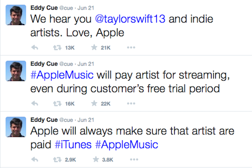 Apple tweet to Taylor Swift