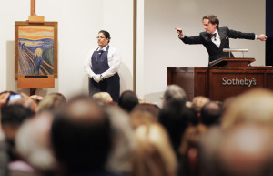 Auctioneer selling famous painting at Sotheby's