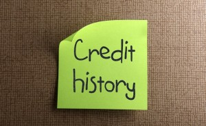 Words credit history written on post it note