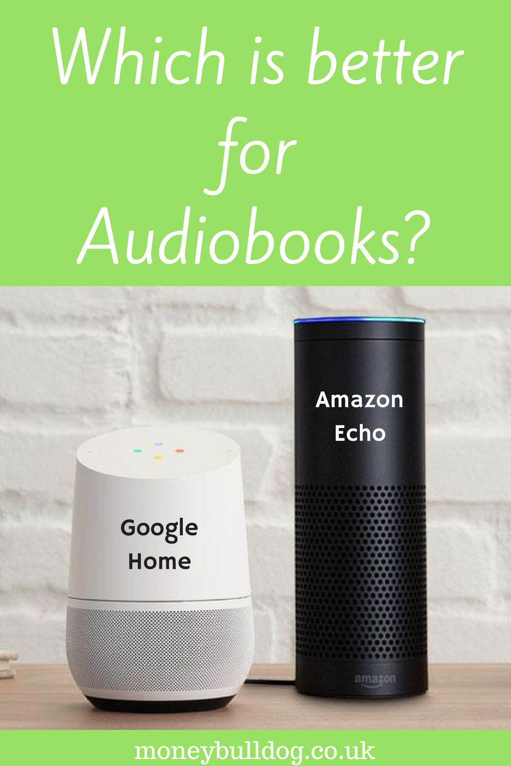 Google Home and Amazon Echo next to each other with question 'which is better for audiobooks'