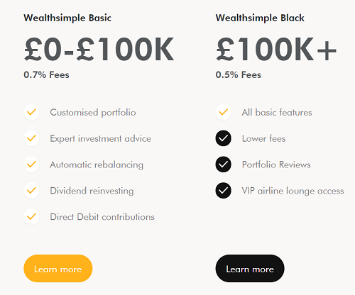 Wealthsimple Basic and Black account pricing and benefits