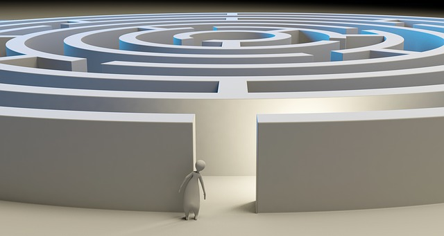 Woman staring into a maze