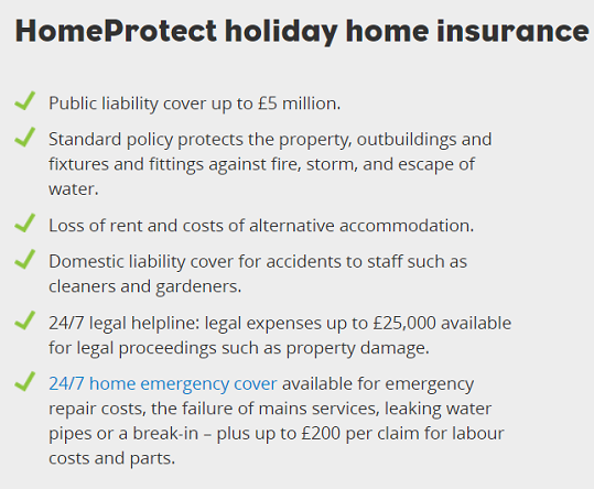 HomeProtect specialist holiday home insurance benefits